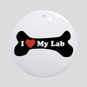 I Love My Lab - Dog Bone Ornament (Round)
