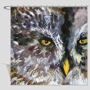 Owl Eyes Yellow Black Gray Bathroom Shower Curtain