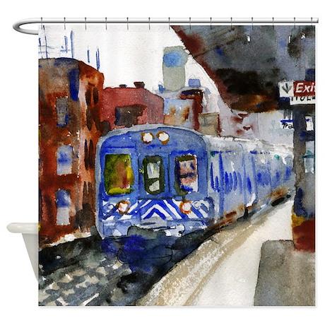 NYC Blue Train Bathroom Shower Curtain by schulmanart
