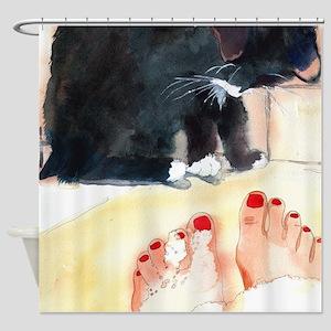 Ebony Bath Black Cat Bathroom Shower Curtain