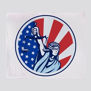 American Lady Holding Scales of Justice Flag retr