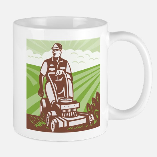 Gardener Landscaper Riding Lawn Mower Retro Mug
