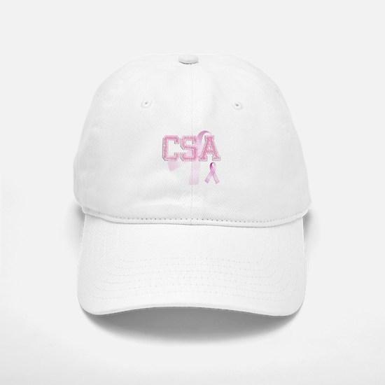 CSA initials, Pink Ribbon, Baseball Baseball Cap