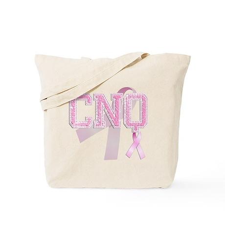 CNQ initials, Pink Ribbon, Tote Bag