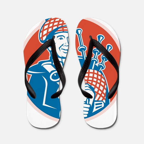 Scotsman Scottish Bagpiper Retro Flip Flops