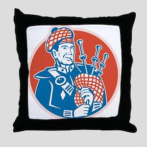 Scotsman Scottish Bagpiper Retro Throw Pillow