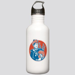 Scotsman Scottish Bagpiper Retro Stainless Water B