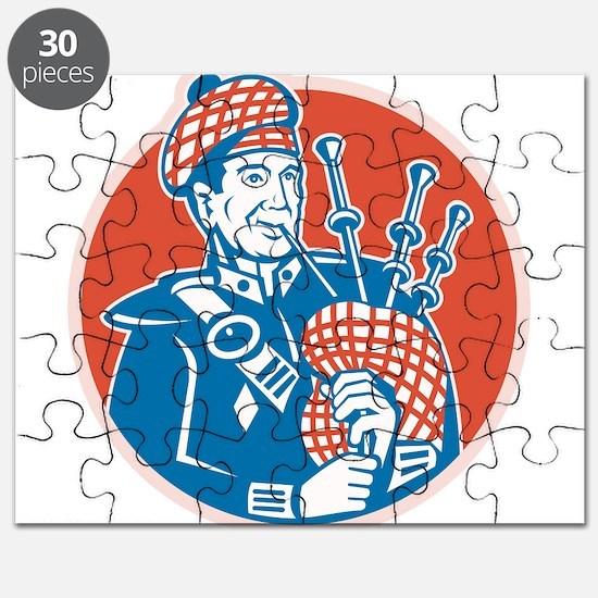 Scotsman Scottish Bagpiper Retro Puzzle