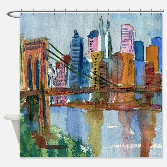 Brooklyn Bridge Bathroom Shower Curtain