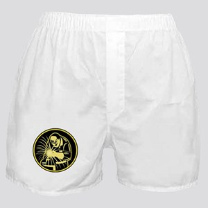 Welder With Welding Torch Visor Retro Boxer Shorts