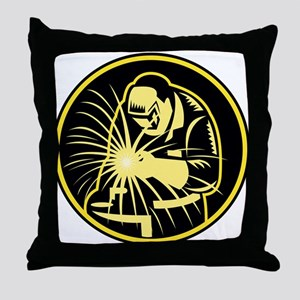Welder With Welding Torch Visor Retro Throw Pillow