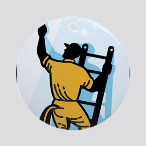 Window Cleaner Worker Cleaning Ladder Retro Orname