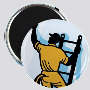 Window Cleaner Worker Cleaning Ladder Retro Magnet