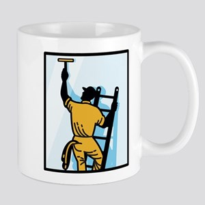 Window Cleaner Worker Cleaning Ladder Retro Mug