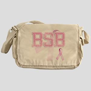 BSB initials, Pink Ribbon, Messenger Bag
