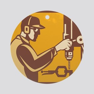 Factory Worker Operator With Drill Press Retro Orn