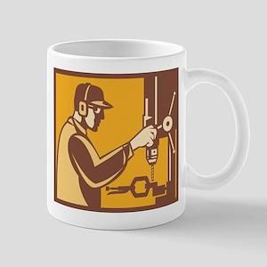 Factory Worker Operator With Drill Press Retro Mug