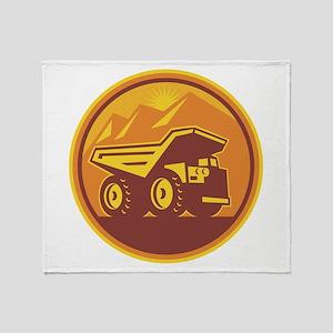 Mining Dump Truck Retro Throw Blanket