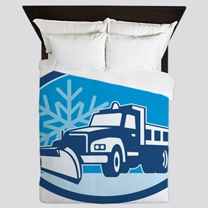 Snow Plow Truck Retro Queen Duvet