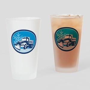 Snow Plow Truck Retro Drinking Glass