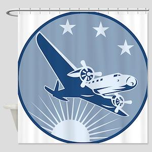 Vintage Propeller Airplane Retro Shower Curtain