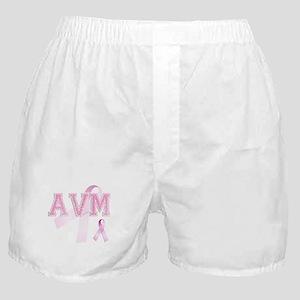AVM initials, Pink Ribbon, Boxer Shorts