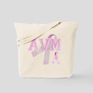 AVM initials, Pink Ribbon, Tote Bag