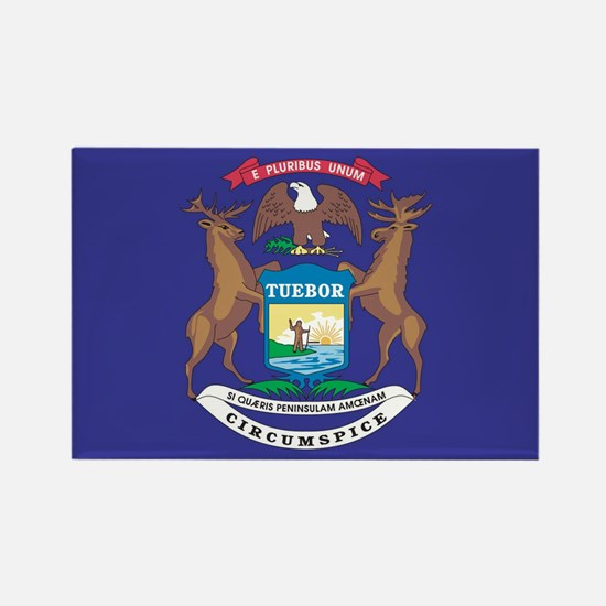Michigan State Flag Rectangle Magnet