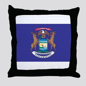 Michigan State Flag Throw Pillow