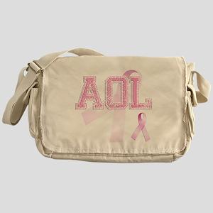 AOL initials, Pink Ribbon, Messenger Bag