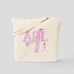 AOL initials, Pink Ribbon, Tote Bag