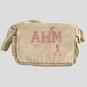 AHM initials, Pink Ribbon, Messenger Bag