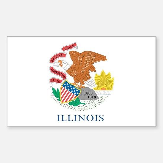 Illinois State Flag Sticker (Rectangle)