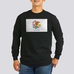 Illinois State Flag Long Sleeve Dark T-Shirt