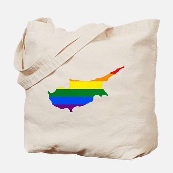 Rainbow Pride Flag Cyprus Map Tote Bag