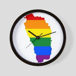 Rainbow Pride Flag Dominica Map Wall Clock