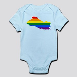 Rainbow Pride Flag El Salvador Map Infant Bodysuit