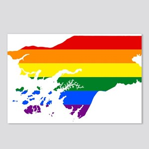 Rainbow Pride Flag Guinea Bissau Map Postcards (Pa