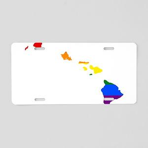 Rainbow Pride Flag Hawaii Map Aluminum License Pla