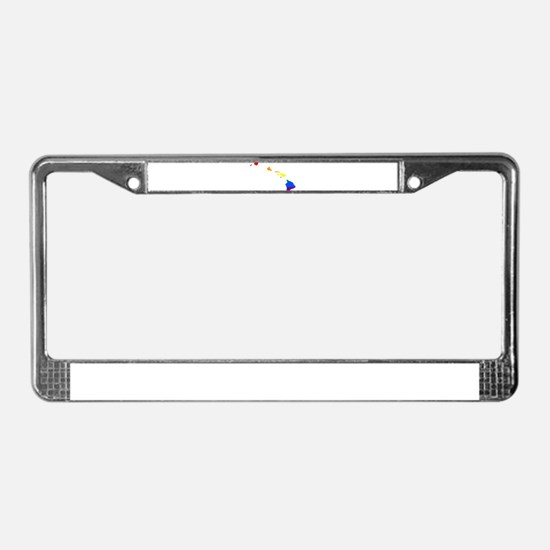 Rainbow Pride Flag Hawaii Map License Plate Frame