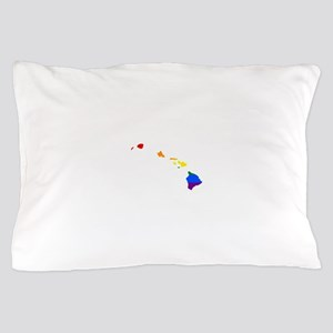 Rainbow Pride Flag Hawaii Map Pillow Case