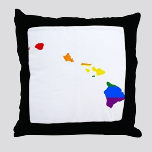 Rainbow Pride Flag Hawaii Map Throw Pillow