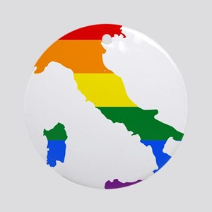 Rainbow Pride Flag Italy Map Ornament (Round)