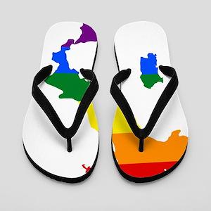 Rainbow Pride Flag Italy Map Flip Flops
