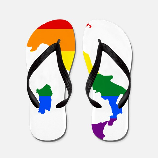 Rainbow Pride Flag Italy Map Flip Flops