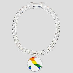 Rainbow Pride Flag Italy Map Charm Bracelet, One C