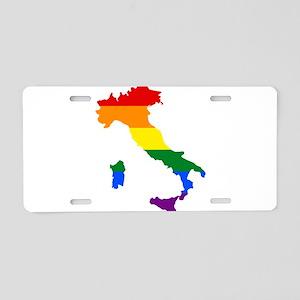 Rainbow Pride Flag Italy Map Aluminum License Plat