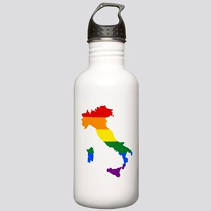 Rainbow Pride Flag Italy Map Stainless Water Bottl