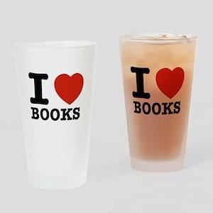 I heart Books Drinking Glass