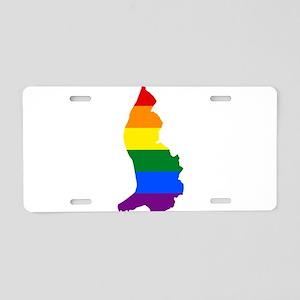 Rainbow Pride Flag Liechtenstein Map Aluminum Lice
